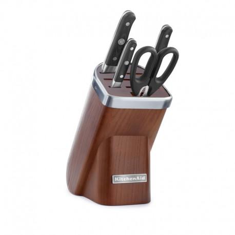 KitchenAid Sada nožů s blokem, 5 ks, přírodní dřevo - tmavý jasan KKFMA05DA